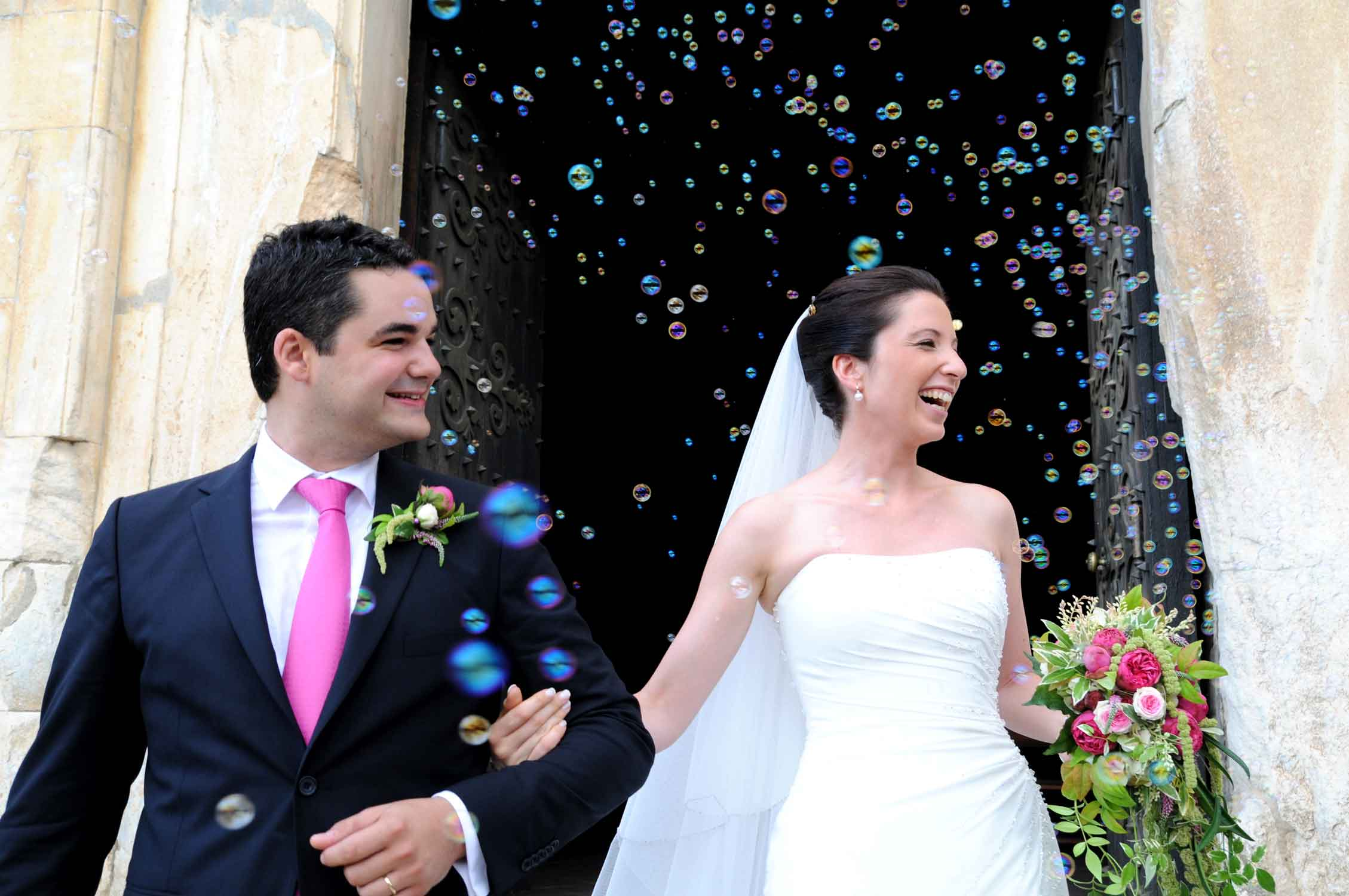 Barcelona Wedding photographer, exit church with bible shower